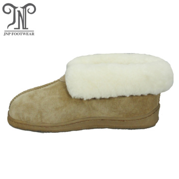 Ladies indoor sheepskin hard sole furry bedroom slippers