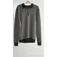 100% lã manga comprida suéter homem
