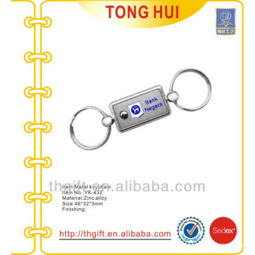 Customized bank logo metal keyrings for famous brands