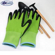 NMSAFETY 13G forro de nylon luvas de espuma de látex / luvas de flor revestimento de látex de trabalho / jardim luvas de segurança