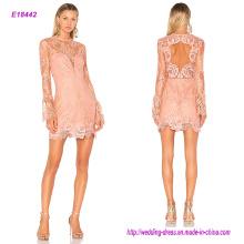 Популярный дизайн полый всей кружева с длинным рукавом короткое вечернее платье с боковой потайной застежкой на опе