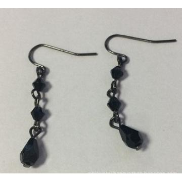 Exotic Black Earrings with Metal