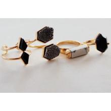 Bisutería nueva joya negro anillo piedra abierta