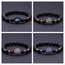 Perak Evil Eye Lava stone 8MM Round Beads Bracelet