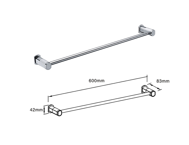 Horizontal bar stainless steel bath towel rack