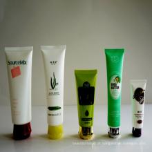 Tubo de plástico transparente cosmético, tubo cosmético plástico PE, redondo tubo cosméticos embalagens com tampa Flip superior