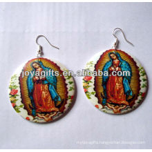 new design wooden earrings Printing Jesus earring