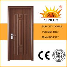 Отделка поверхности и распахиваются Стиль туалет ПВХ двери (СК-P107)
