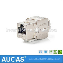 AUCAS Cat6 FTP zinc alloy toolless module / 8p8c RJ45 indoor keystone 90 degree jack module