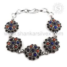 Lapis espetacular, pulseira de pedras preciosas de coral Jóias de prata esterlina 925 Jóias feitas à mão Jaipur on-line