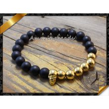 Black Matte Agate Bracelet with Gold Skull Head Charms Beads (CB029)