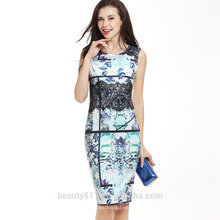La flor elegante de la alta calidad de las mujeres del verano imprimió los mini vestido coreano de la señora de la manera de los mini vestidos coreanos del A-line del O-cuello SD03