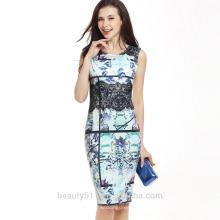 Mulheres de verão elegante flor de alta qualidade impressa O-neck mini A-line vestidos coreanos novo vestido de senhora de moda SD03