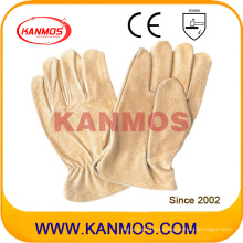 Guantes de seguridad industriales del trabajo del cuero del conductor del grano del cerdo amarillo (22202)