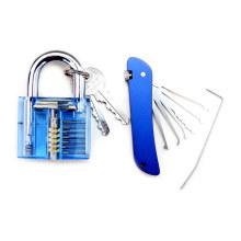 Cadenas de pratique bleu transparent avec outils de blocage de couteaux pliants bleus (Combo 5-1)
