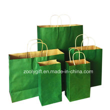 Venta al por mayor barato reciclar Kraft bolsas de papel portador de regalo con el mango torcido