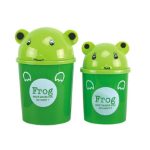 Green Frog Design Plastic Flip-on Lixeira (A11-5805)