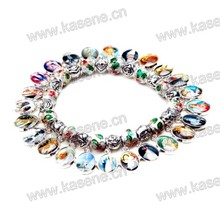 Fashion Colourful Metal Medal Bracelet with Plastic Beads