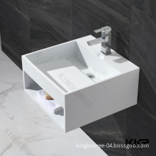 Commercial White Resin Stone Marble Wash Basin for Hotel (B1412012)