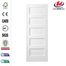 30 po x 80 po. Série MDF Lisse 5 panneaux égaux Solid Core Primed Composite Single Prehung Porte d'intérieur