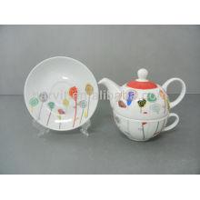 FDA LFGB Approved Fine Porcelain Children Dinner Set Lollipop Pattern 3pcs Cake Plate+Tea Set