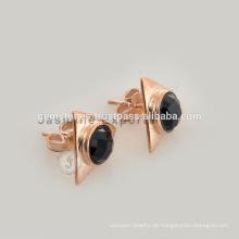 Handgemachte Rosen-Goldschwarzes Onyx Edelstein-Lünetten-Bolzen-Ohrring-beste Qualitätsrosen-Goldschmucksache-Lieferanten