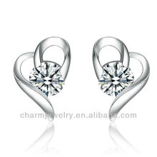 Fashion Heart Clear Solitaire Ohrstecker SE-008