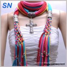 Muliti coloreó la bufanda pendiente de la manera con la joyería (SNSMQ1031)
