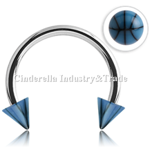 Surgical Steel Micro-circular Barbell UV Basketball Cones