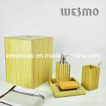 Two-Tone Bamboo Bath Set (WBB0301C with waste basket)