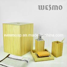 Conjunto de banho de bambu de dois tons (WBB0301C com cesta de lixo)