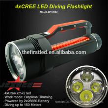 Super Power Rechargeable Dive 4 x CREE XM-L L2 LED 4000 Lumen 2x26650 Batterie Plongée Lampe de poche