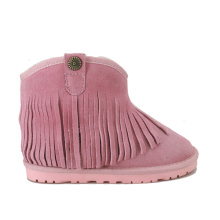 Girls Pink Fringe Ankle Boots Fur lined