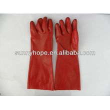 Red PVC Coated Gauntle Glove Smooth Finish