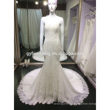 Slim Lace Embroidered Bridal Dress Girls Party Dress Hot Selling Real Sample Mermaid Lace Wedding Dress 6666-2