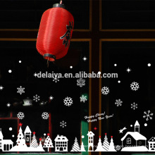 Рождественские окна коттедж белый стекло наклейки Рождество наклейки ПВХ
