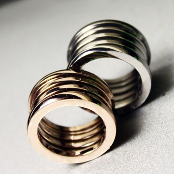 Gold Plated Five Ring Spring Round For Women