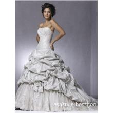 Ball Gown Strapless Chapel Train Ruffles Wedding Dress
