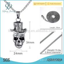 Personalizado em aço inoxidável bola cremação pingente, esculpida crânio jóias pingente