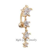 18K oro claro Sexy estrellas falso ombligo anillo