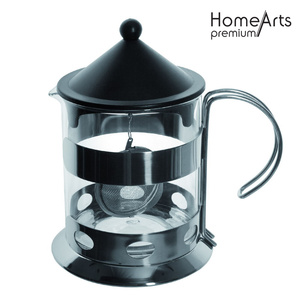 Stainless Steel Housing Glass Teapot