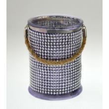 New Design Electroplated Glass Candle Jar with Hemp Rope Hug