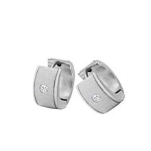 Moda em aço inoxidável brinco de prata gemstone costas para casais