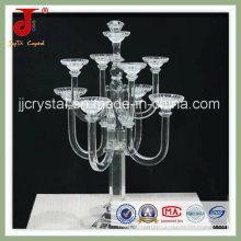 Requintado 7 braços de cristal suporte de vela e candelabro para centro de mesa de casamento