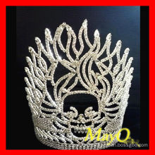 Fashion Flame Skull Halloween Pageant Tiara Crown With Clear Crystal