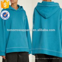 Синий с капюшоном за плечо хлопок Толстовка ОЕМ/ODM Производство Оптовая продажа женской одежды (TA7022H)