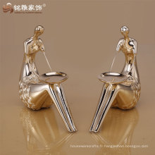 Vente en gros de résine en or bougeoir décoration de table de mariage