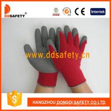 Corda malha de espuma de látex revestido luvas de segurança (dkl411)