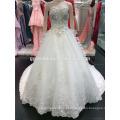Vestido de noiva de marfim de luxo Sweetheart Neck Backless Crystal Beaded Royal / Cathedral Vestido de noiva de trem longo A096