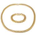 14MM 30 Zoll Gold füllte Mikro pflastern CZ-Edelstahl-Kubaner-Halsketten-Kettenarmband-Satz